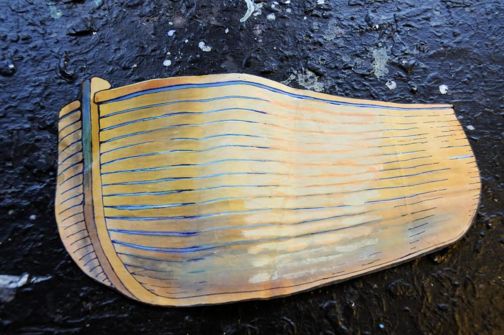 Skiss av ljus träbåt. Jan Håfström Arken
