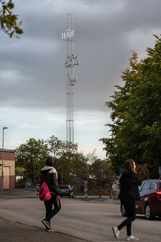 High pole in a residential area.