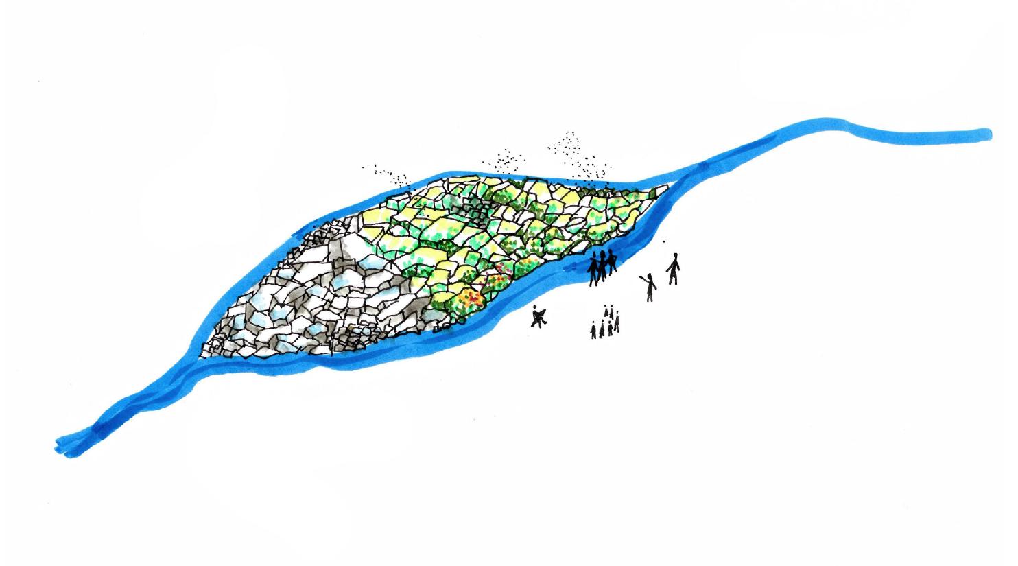 Illustration av en ö i mitten av ett vattendrag